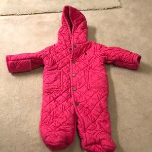Girls Pink Ralph Lauren Snowsuit size 3 mo.
